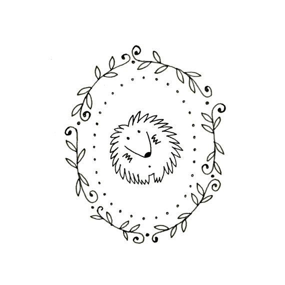 Hedgehog Embroidery Pattern Printable Woodland Animal Digital Downloadable 0088