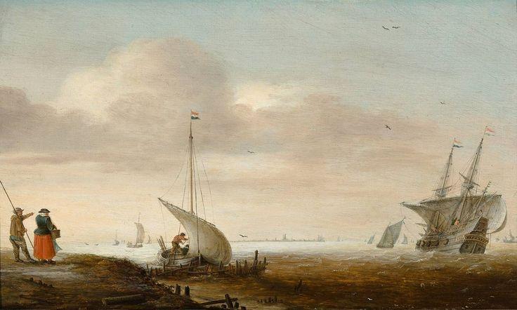 Riviermond met schepen, Hans Goderis, 1625 | Museum Boijmans Van Beuningen