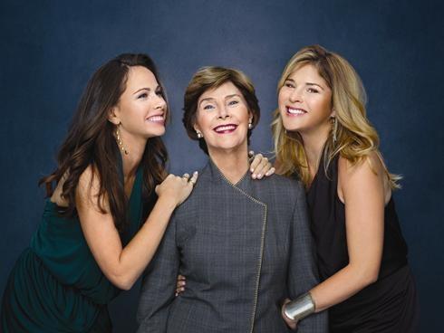 Former First Lady Laura Bush with daughters, Barbara Bush and Jenna Bush Hager.