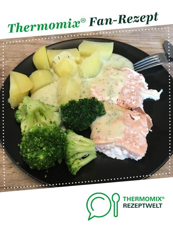 Fischfilet mit Brokkoli, Kartoffeln und Dillsauce
