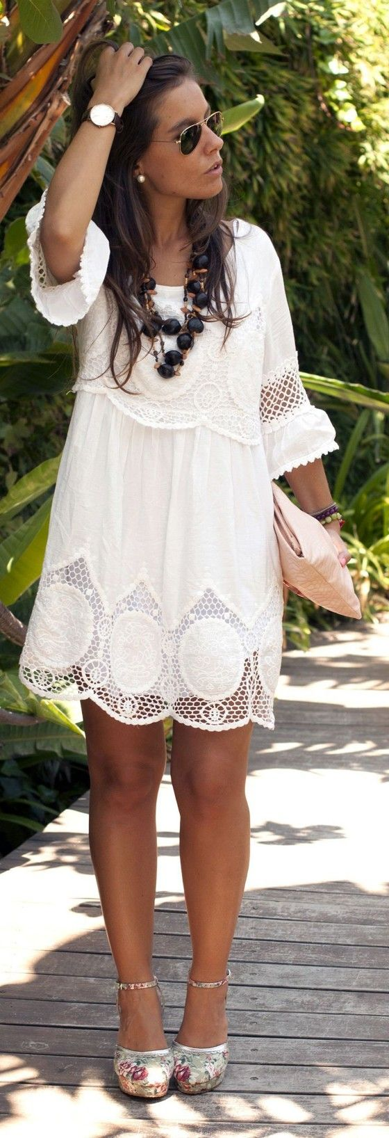 White Plain Embroidery Hollow-out Round Neck Midi Dress