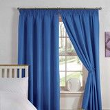 Thermal Curtains Pencil Pleat Blue