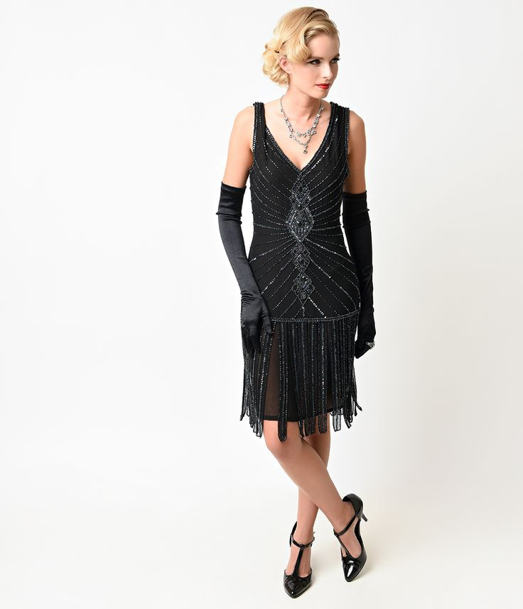 Unique Vintage Deco Black Beaded Fringe Aelita Flapper Dress $198.00 AT vintagedancer.com