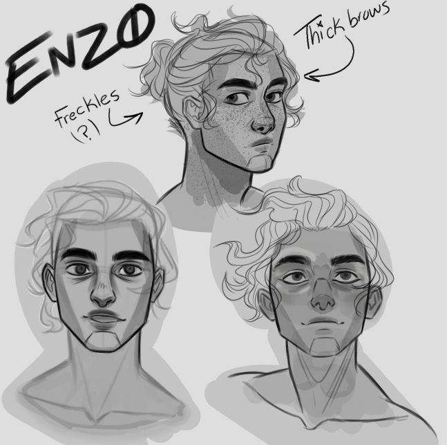 "~ENZO MY DEAR SON~ This character is still under massive development.  Enzo is 17. Human. Dark-tanned skin. Curly tar-black hair. Freckles on his cheeks. Well built muscular physique. Cool, kind, and calm demeanor although can be rash, impulsive, and bratty at times. Adopted by an alien name ""Zcharik"" and was brought up to be a prodigy mechanical spaceship engineer."
