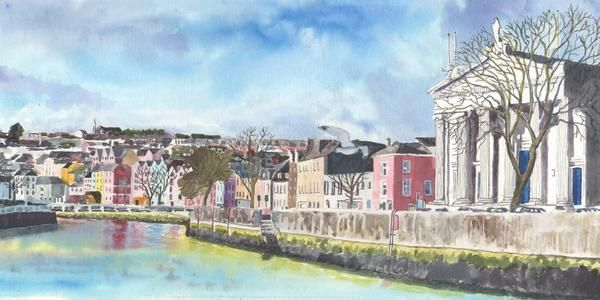 An original painting using ink pigment,white acrylic and black ink. Reference is a photo taken by myself several years ago from further up the Quay.