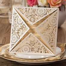 New 50 engagement invitations wedding invitations sets Gatefold invite Laser Cut Out + cards + blank involves Vintage with seal(China (Mainland))