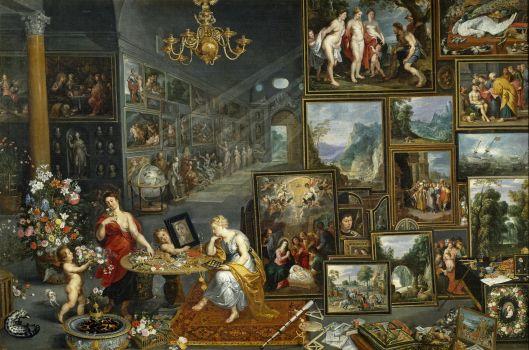 """La Vista y el Olfato, Jan Brueghel """"el Viejo"""", Hacia 1620. Óleo sobre lienzo, 176 cm x 264 cm. Escuela Flamenca. Alegoría."""