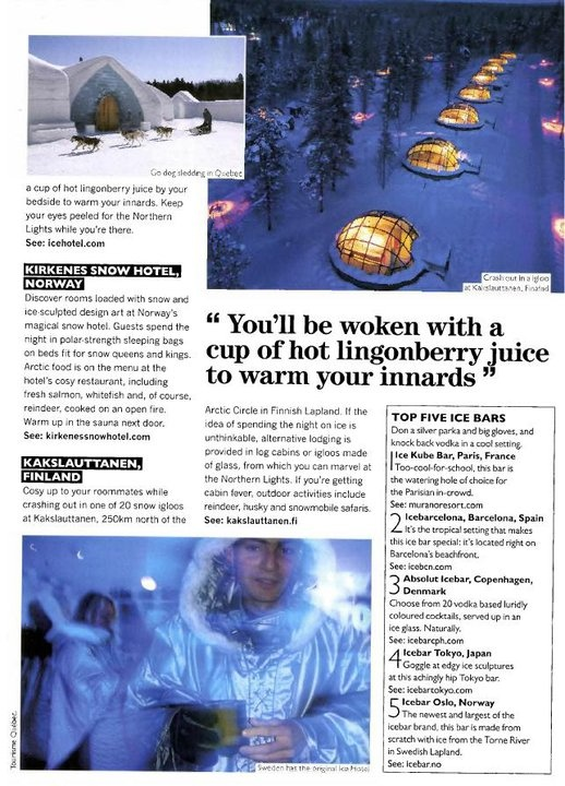 Ice Hotel Romania featured in Ice Hotel reviews in TNT Magazine. Dec 2012. untravelledpaths.com