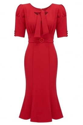 Rouge dress #PrettyEccentric #Bombshell #Pinup #1950s #Fifties #Dress #Fishtail #Red