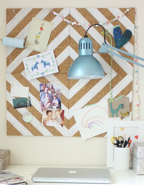 Painted cork tile pinboard