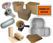 Bubble wrap, corrugated boxes, corrugated rolls, kraft paper, masking tape, newsprint paper, packing tape, pallet hand wrap, steel/poly strapping & tensioners