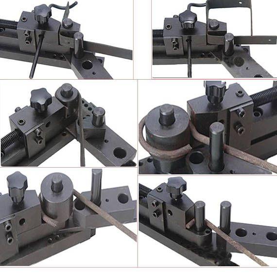 Esta es la herramienta más económica y mejor que he encontrado para hacer anillos de cuchara. ¡Obtén tu cuchara anillos perfectamente redondo! No más martillazos y formando alrededor de un mandril de metal. Este doblador se conecta fácilmente al Banco de trabajo o tornillo de banco para hacer curvas de ángulo hasta 5/16 8 MM) diámetro de varilla y 1 x 1/8 (30 mm) de metal plana Todo el mundo pregunta cómo cortar cubiertos. Yo personalmente uso un cortador de perno y luego moler ...