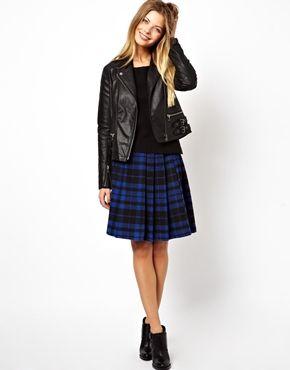 asos mini skirt in tartan check with side zip minirock karierte
