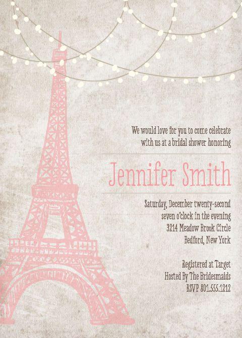 Best 25 paris invitations ideas on pinterest paris for Paris themed invitations bridal shower