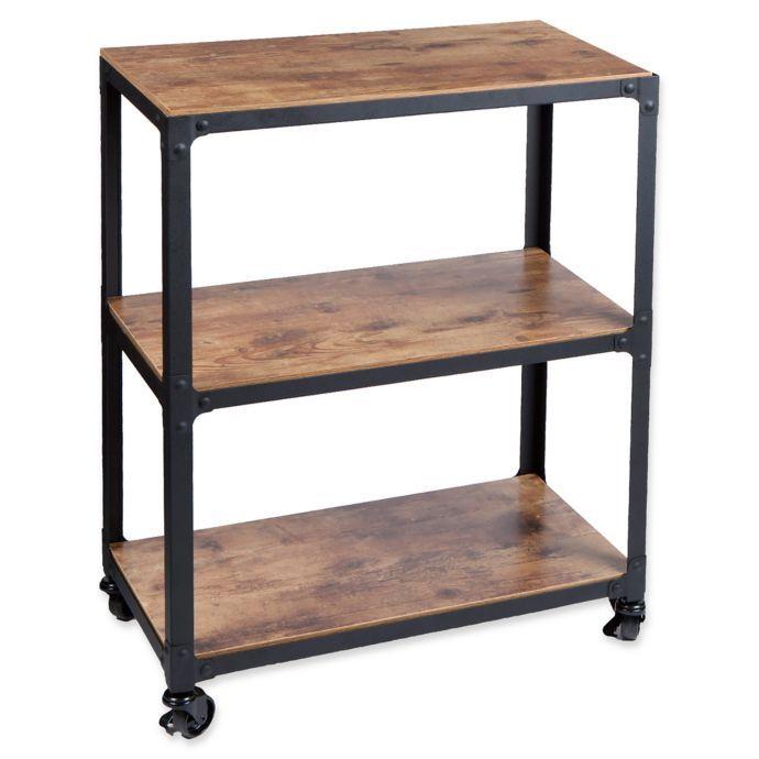 Mind Reader Charm 3 Shelf Utility Cart In Black Wood Rustic Office Storage Bed Bath And Beyond Black Wood Bed