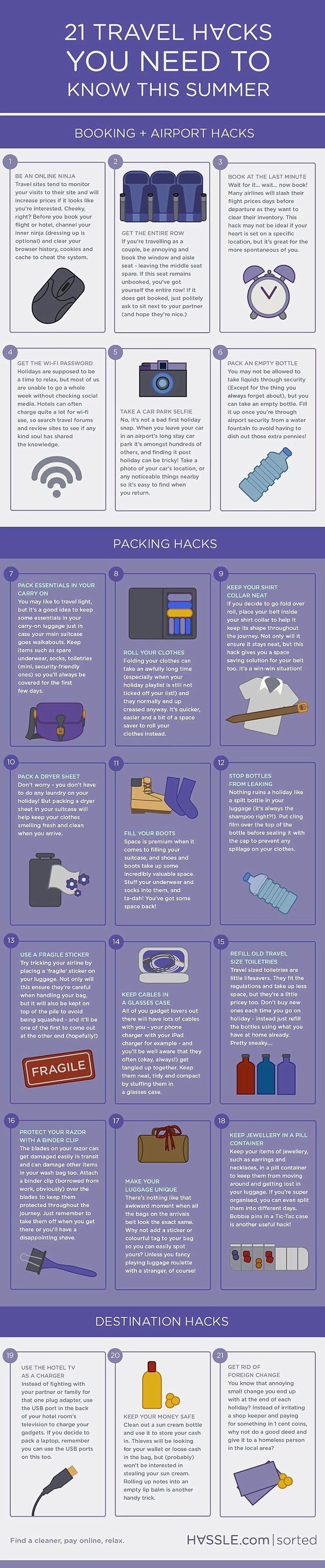 Infographic shows the must-need hacks for easy, breezy travel this summer