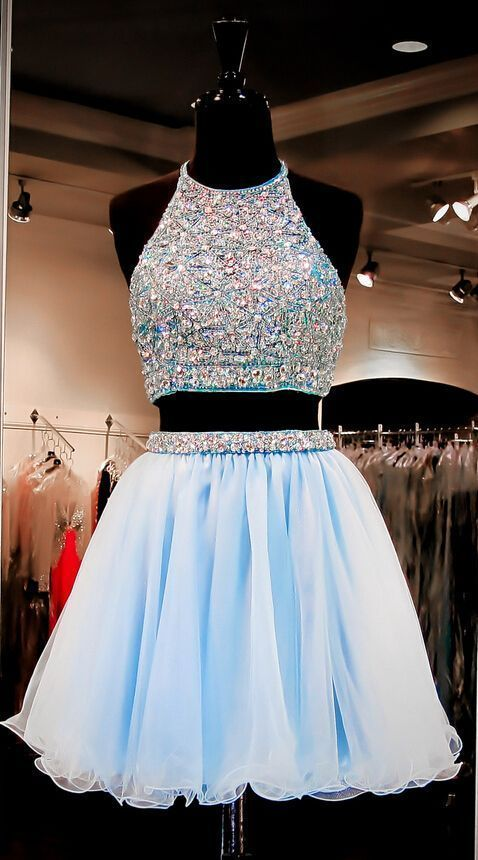 Two piece sky blue rhinestone tulle prom homecoming dresses 2016