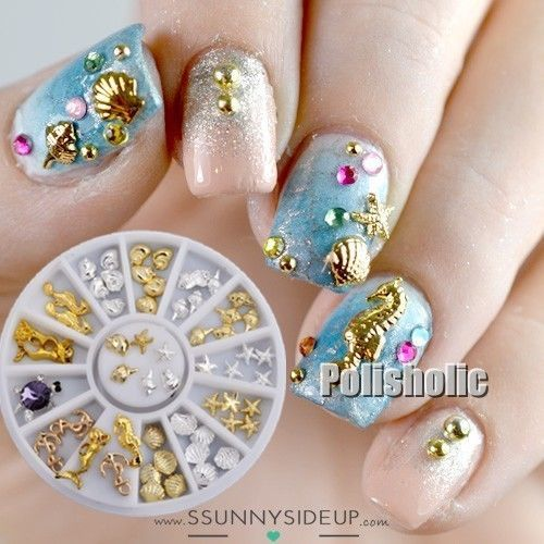1 Box Nail Art 3D Seashell Starfish Mermaid Ocean Mixed Design Charms Decoration
