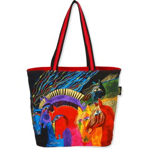 Tote bag featuring Laurel Burch's Wild Horses of Fire design.