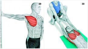 29.peitorais 30.peito e grande dorsal - Se você tem problema no ombro, não faça esse alongamento.