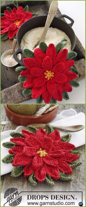 Crochet Christmas Star Poinsettia Pot Holder Free Patterns - Crochet Poinsettia Christmas Flower Free Patterns