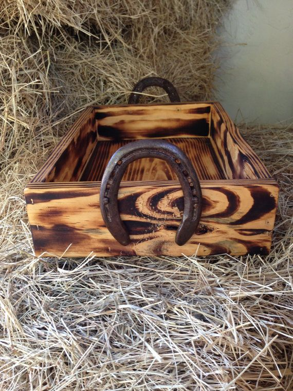 Wood box with horseshoe handles. Western decor by Horseshoeworld
