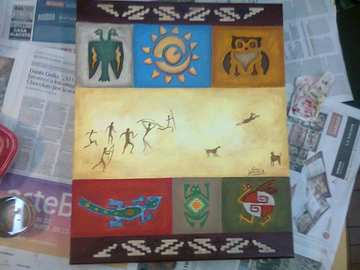 Tecnica mixta. Arte precolombino. Pintura latinoamericana
