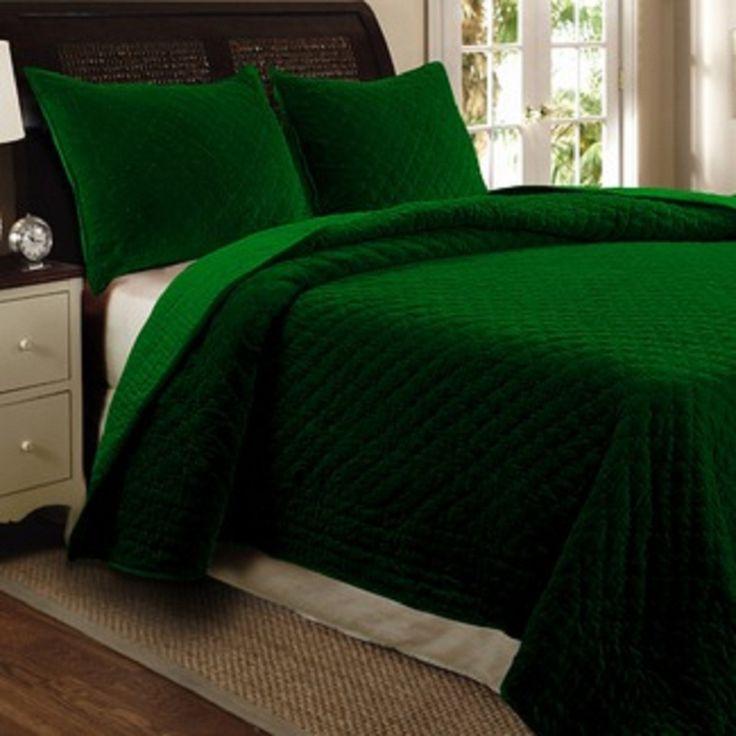 Luxurious Bohemian Emerald Green Velvet Quilt Bedspread