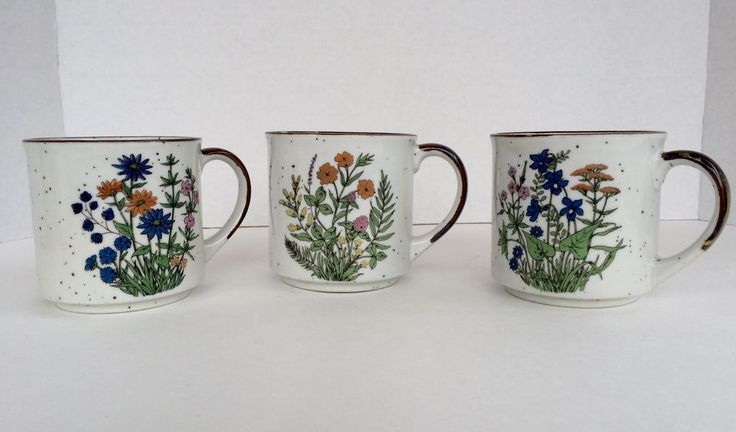 Pre-Owned Retro Floral Stoneware Coffee Mugs Japan Set of 3 | Pottery & Glass, Pottery & China, China & Dinnerware | eBay!