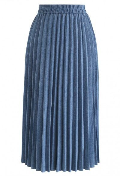 68921a3fa2 Back to 90's Pleated Denim Midi Skirt | skirt collection in 2019 ...