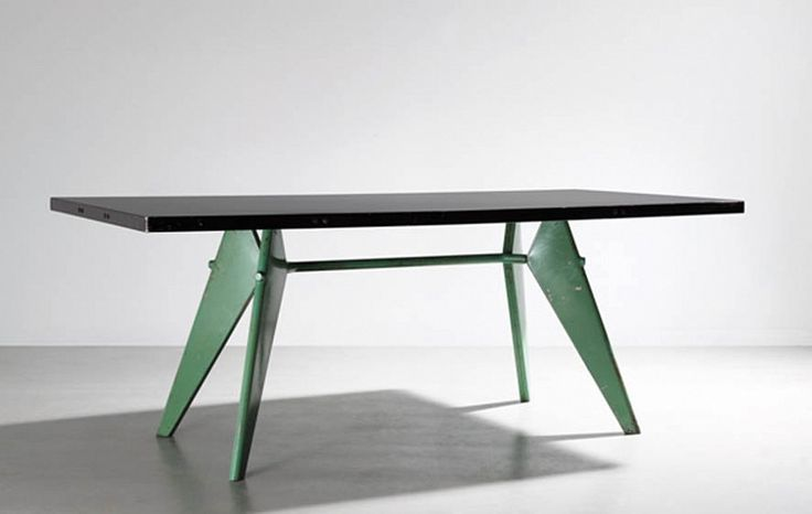 Jean PROUVE, Table S.A.M. Tropique No 503 1959, Plateau en aluminium laqué vert