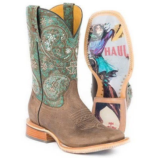 Women's Tin Haul Ban-Dan-Uh Boots With Vintage Rider Girl Sole Handmade - yeehawcowboy