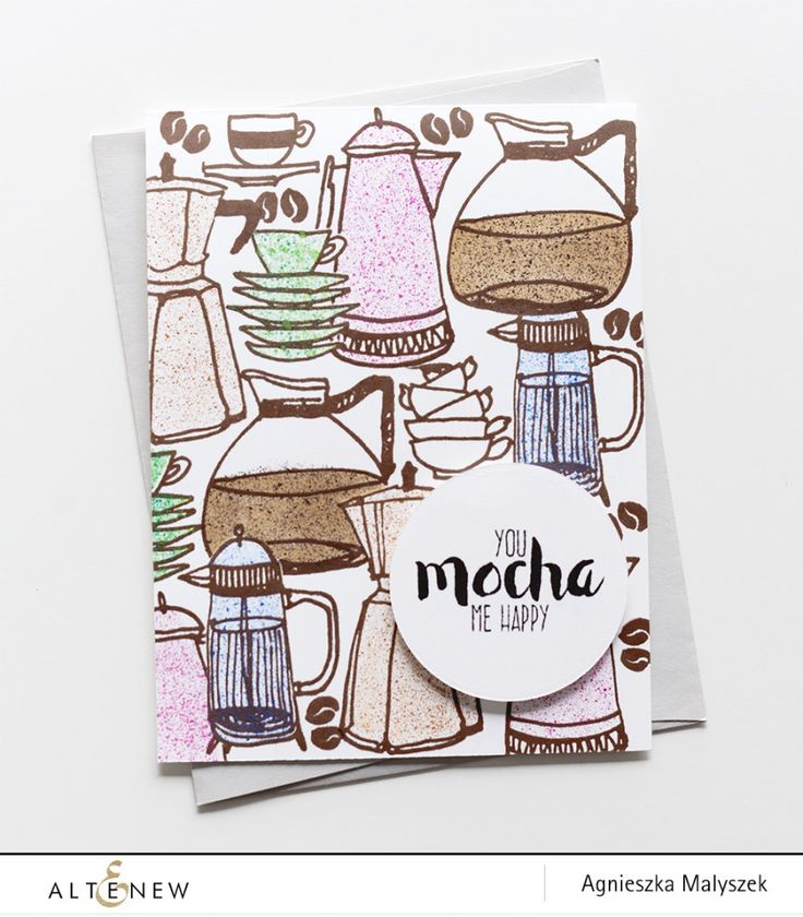 This card is a stunner! love everything about this project. The stamp sets used on this are Coffee Love and Coffee Talk for the sentiment. To see the entire project, visit our blog. www.altenew.com