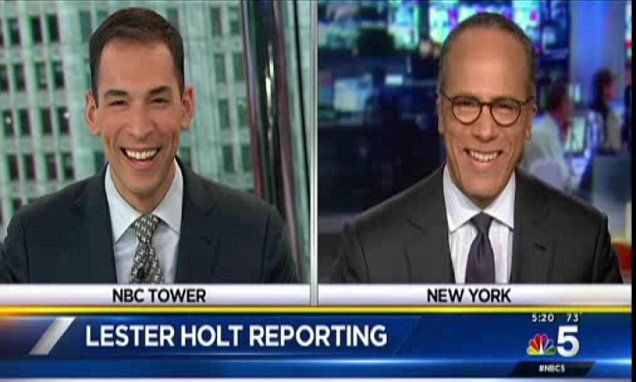 'Next on NBC... my dad!' Lester Holt's local news anchor son hands over to his old man in sweet exchange before Nightly News #DailyMail