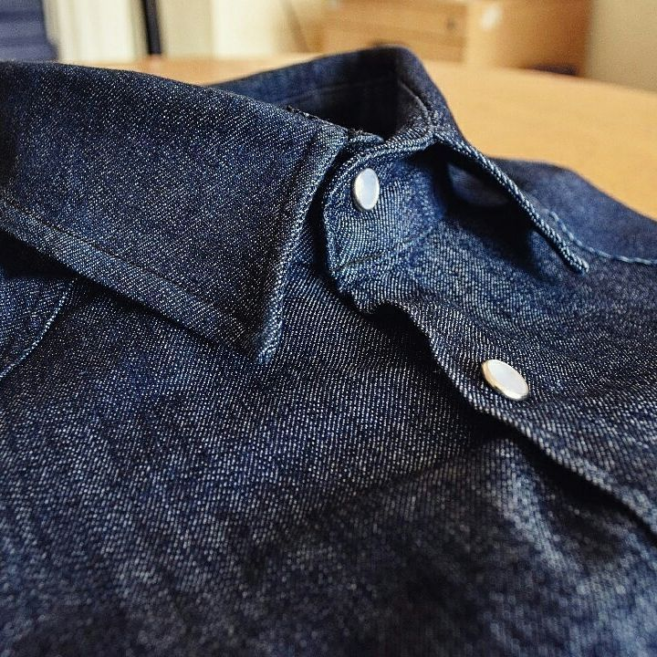 Detail On Denim Shirt Manufactured In Zimbabwe By Herschell Barker Clothing Company Blue Marble Press Stud Buttons Clothing Co Clothing Brand Clothes
