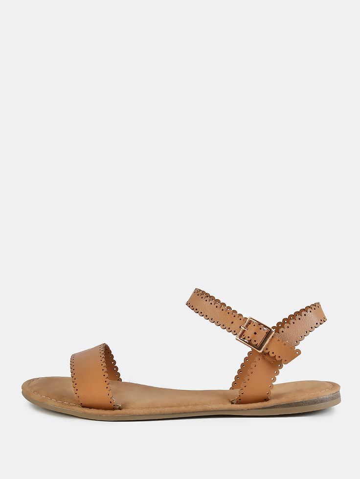 Online shopping for Scalloped One Band Ankle Strap Sandals TAN from a great selection of women's fashion clothing & more at MakeMeChic.COM.