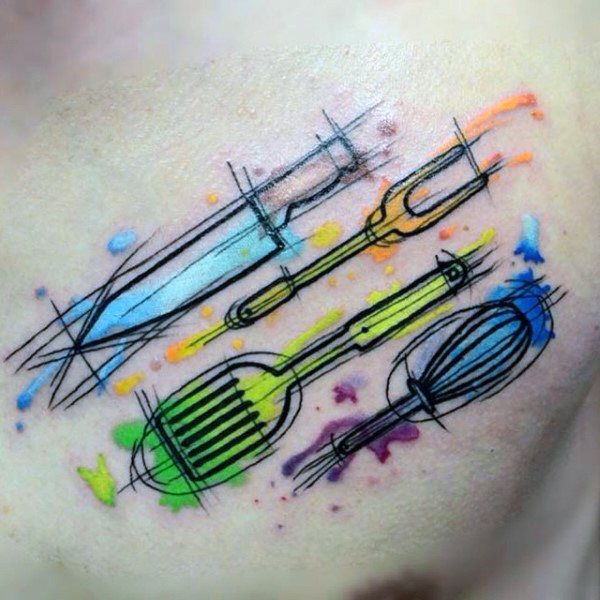 wood tool tattoos. color blast culinary tool tattoo male chest wood tattoos