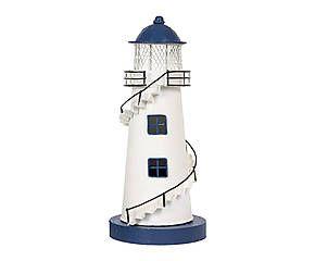 Lampe à poser PHARE métal, bleu et blanc – H30