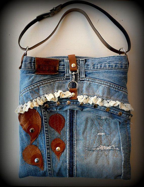 Pachwork Denim Recycling Tasche mit Leder Herzen Baumwolle Lace und silbernen Nieten