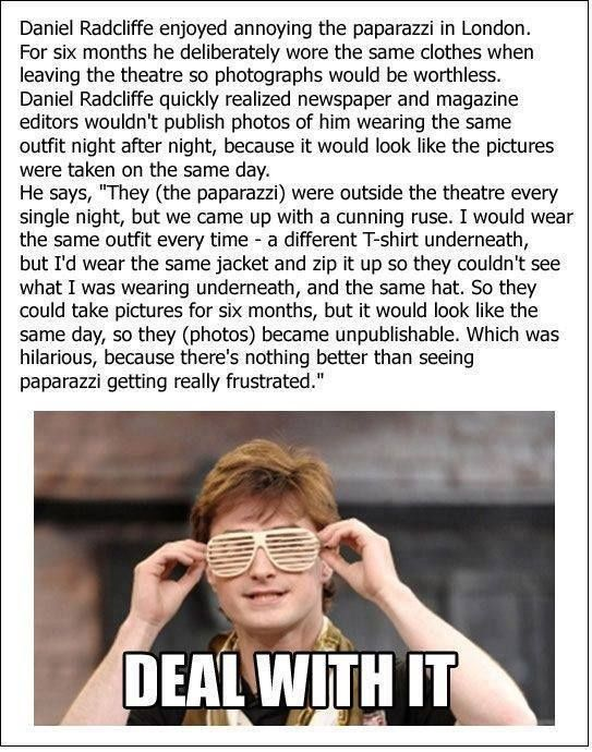 This is some unusual paparazzi repellant from Daniel Radcliffe.