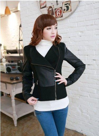 siyah yan cepli bayan deri ceketler #japon #style tabiki