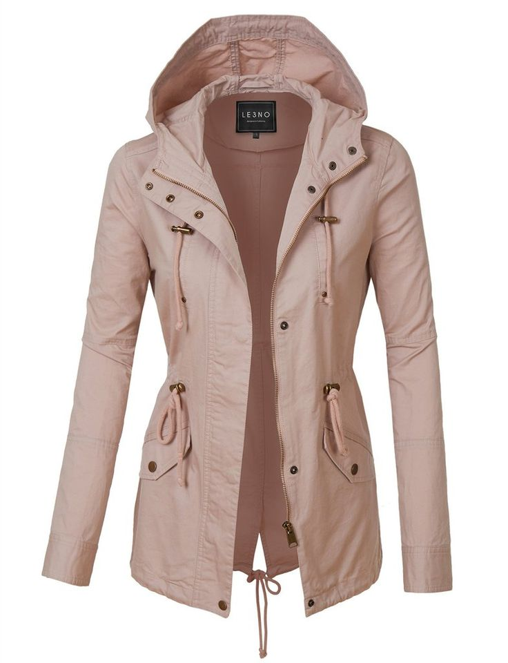 LE3NO Womens Anorak Drawstring Waist Military Hoodie Jacket with Pockets