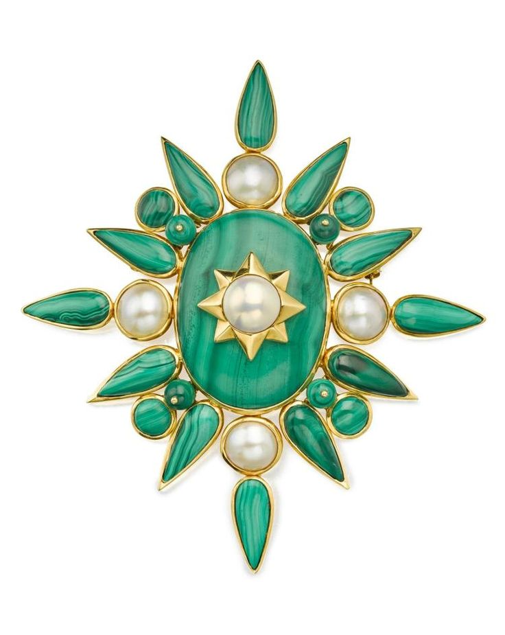 18 KARAT GOLD, MALACHITE AND MABÉ PEARL BROOCH, TONY DUQUETTE.The stylized…