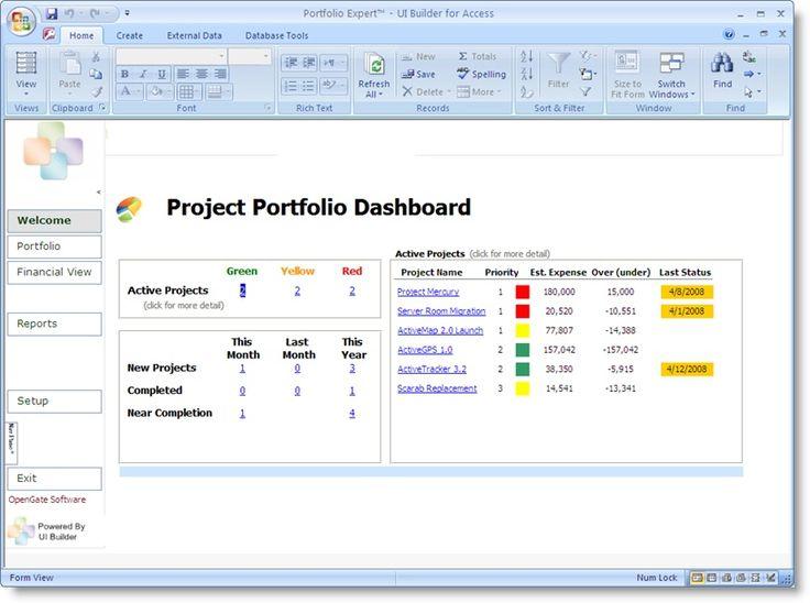 project portfolio dashboard template
