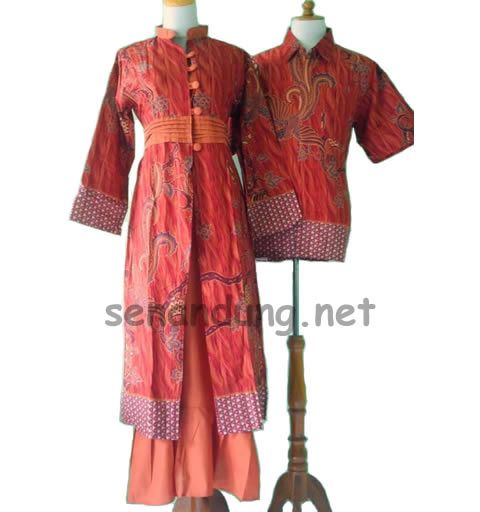 gamis batik sarimbit modern warna orange