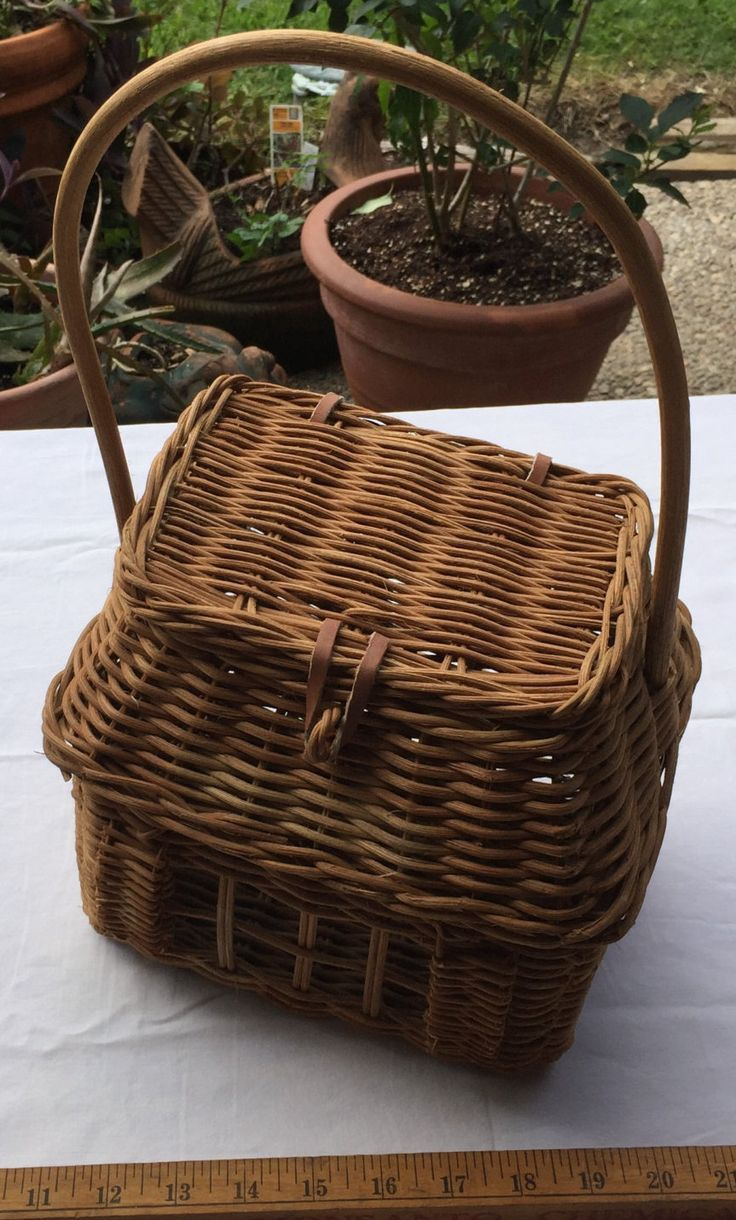 "Vintage Hand-Woven ""Window"" Wicker Basket w/Matching Lid"