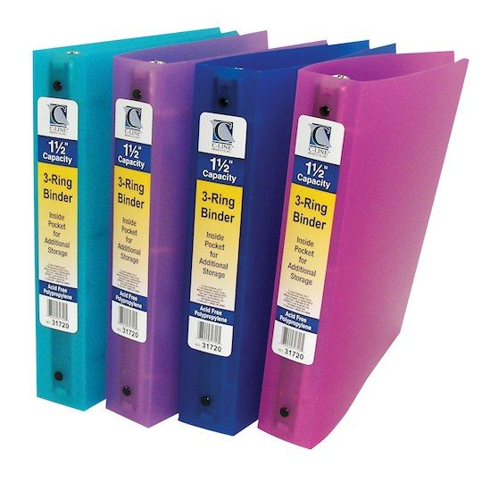 Assorted Colors 3 Ring Poly Binder 1 1 2 Capacity Pack Of 6 In 2020 Binder Binder Pockets 3 Ring Binders