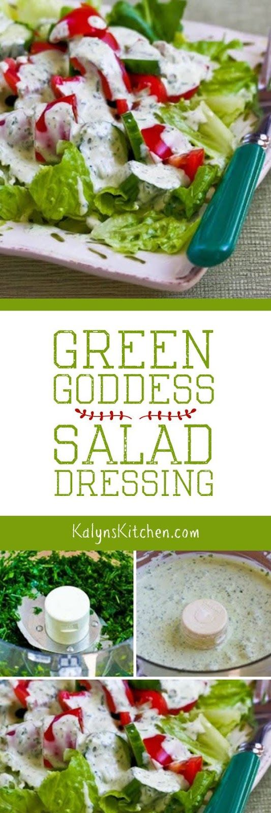As soon as fresh tarragon starts coming up in the garden I think about making this Green Goddess Salad Dressing. This classic salad dressing is always a hit and it's low-carb, Keto, low-glycemic, gluten-free, and South Beach Diet friendly! [found on KalynsKitchen.com]