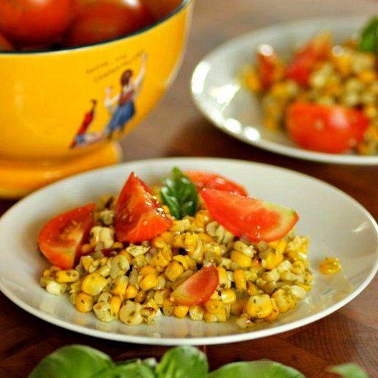 Charred Corn and Tomato Salad with Basil Vinaigrette