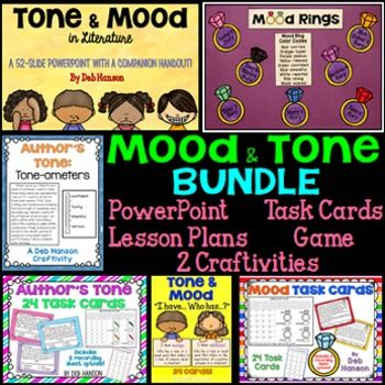 Moods and Tone in Literature: This bundle contains multiple resources for teaching students how to identify an author's tone in writing and the mood created after reading a piece of literature.